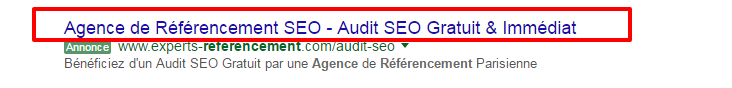 Titre google Adwords